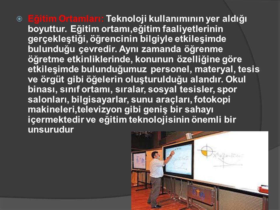  Eğitim Ortamları: Teknoloji kullanımının yer aldığı boyuttur. Eğitim ortamı,eğitim faaliyetlerinin gerçekleştiği, öğrencinin bilgiyle etkileşimde bu