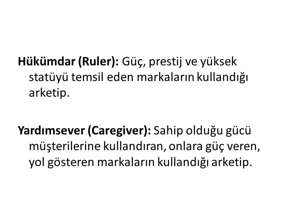 Hükümdar (Ruler): Güç, prestij ve yüksek statüyü temsil eden markaların kullandığı arketip. Yardımsever (Caregiver): Sahip olduğu gücü müşterilerine k