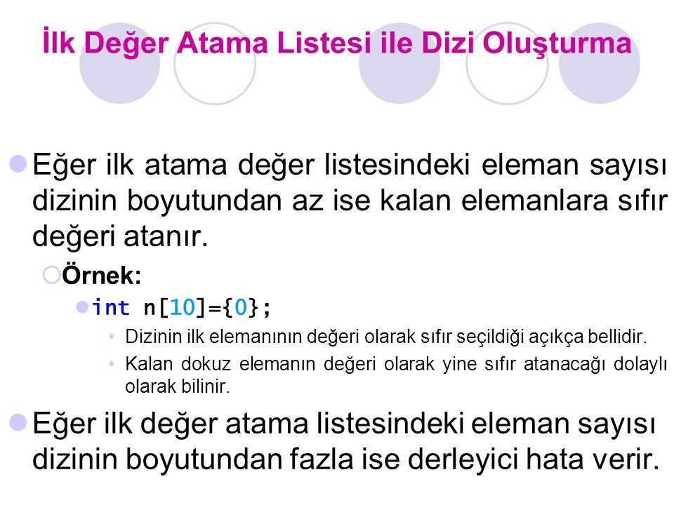 İlk Değer Atama Listesi ile Dizi Oluşturma Eğer ilk atama değer listesindeki eleman sayısı dizinin boyutundan az ise kalan elemanlara sıfır değeri atanır.