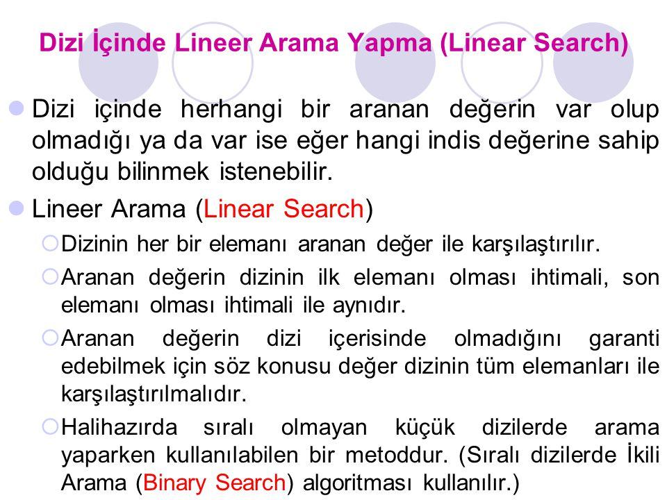 Dizi İçinde Lineer Arama Yapma (Linear Search) Dizi içinde herhangi bir aranan değerin var olup olmadığı ya da var ise eğer hangi indis değerine sahip olduğu bilinmek istenebilir.