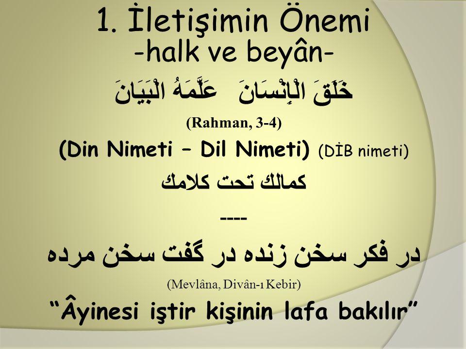 1. İletişimin Önemi -halk ve beyân- عَلَّمَهُ الْبَيَانَ خَلَقَ الْإِنْسَانَ (Rahman, 3-4) (Din Nimeti – Dil Nimeti) (DİB nimeti) كمالك تحت كلامك ----