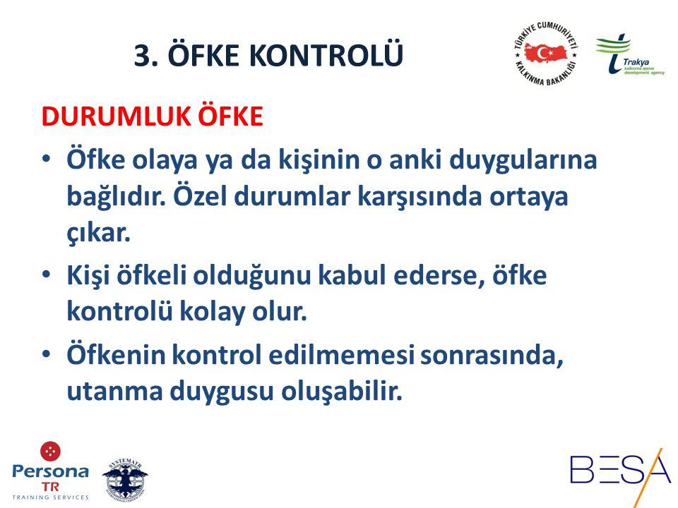 3.ÖFKE KONTROLÜ ÖFKE YÖNETİMİ 1. FİZYOLOJİK UYGULAMALAR 2.