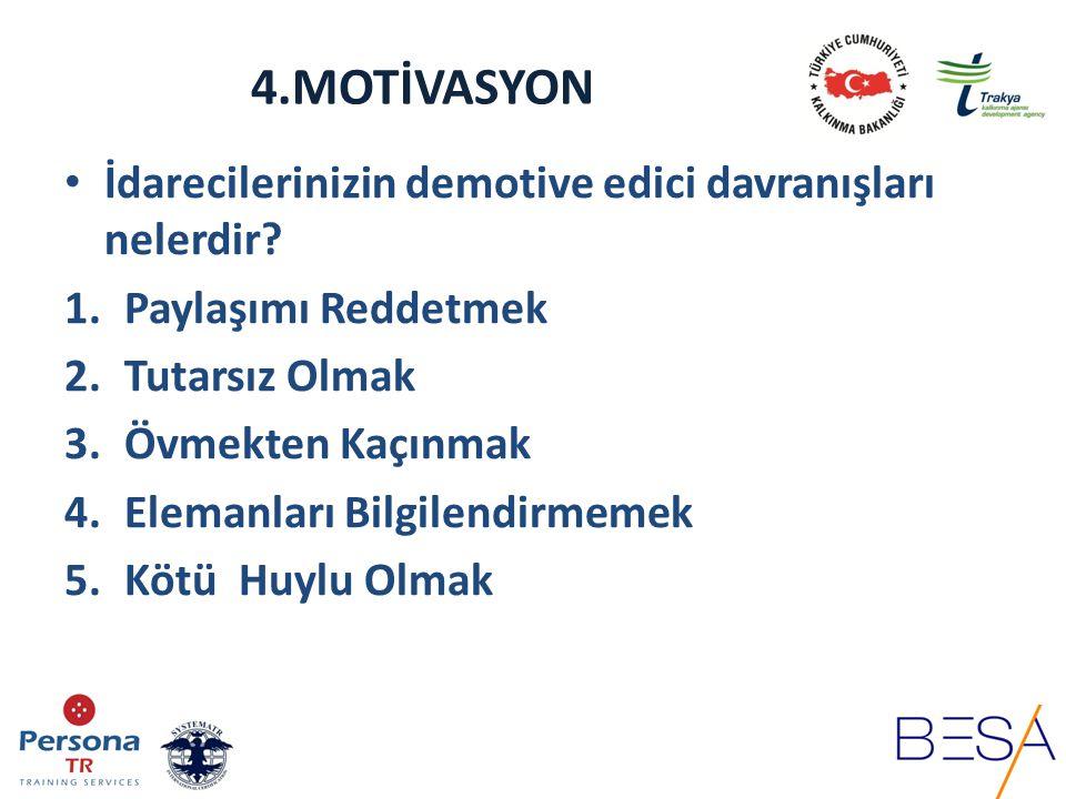 4.MOTİVASYON Motivasyonu sağlayabilmek için öncelikle motivasyonun önündeki engellerin kaldırılması gerekir.