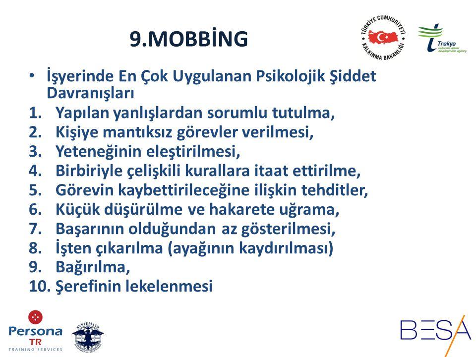 9.MOBBİNG Mobbingin iletişimsel aşamaları 1.Çatışmanın İlk Belirtileri (sözel, işitsel, cinsel,vb) 2.Çatışmanın Çözümlenmeyişi (iletişimin kopması) 3.Mobbingin Başlaması (Ruhsal ve fiziksel olumsuz etkilerinin 4.belirmesi) 5.Mobbingin Şiddetlenmesi (birey üzerindeki gözle görülür 6.etkisinin artması) 7.Mobbingin Yoğunlaşması, frekansının artması (işine devam 8.edemez hale gelerek, toplumsal iletişim kanallarını da 9.kapatması) 10.Hastalık-İstifa-Kovulma vs.
