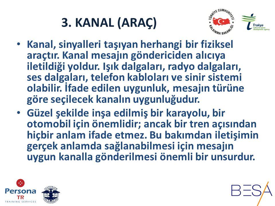 3.KANAL (ARAÇ) Örgütlerde iletişim kanalları, resmi ve gayri resmi olabilir.