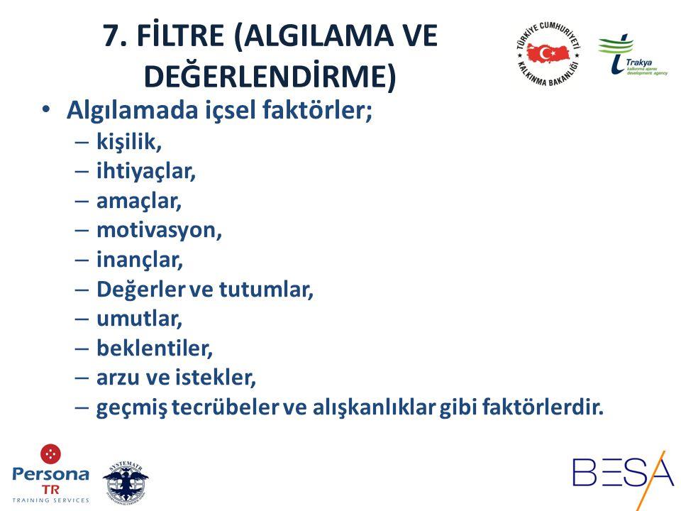 7. FİLTRE (ALGILAMA VE DEĞERLENDİRME) Algılamada içsel faktörler; – kişilik, – ihtiyaçlar, – amaçlar, – motivasyon, – inançlar, – Değerler ve tutumlar