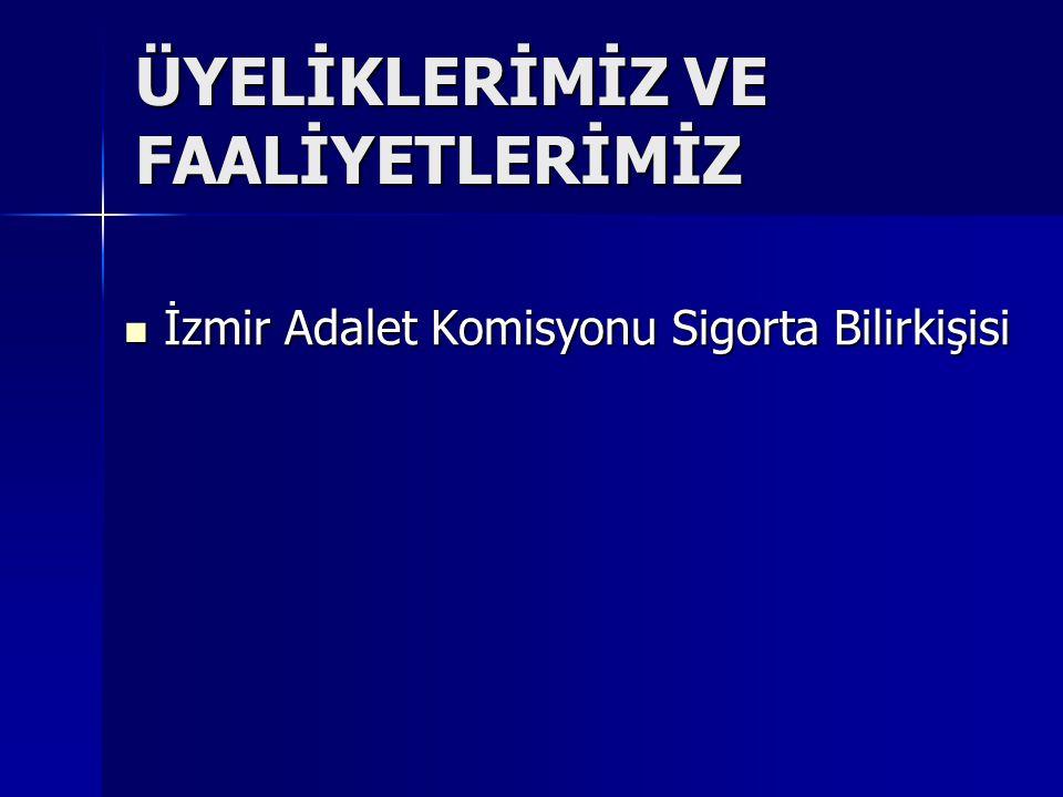 ÜYELİKLERİMİZ VE FAALİYETLERİMİZ İzmir Adalet Komisyonu Sigorta Bilirkişisi İzmir Adalet Komisyonu Sigorta Bilirkişisi