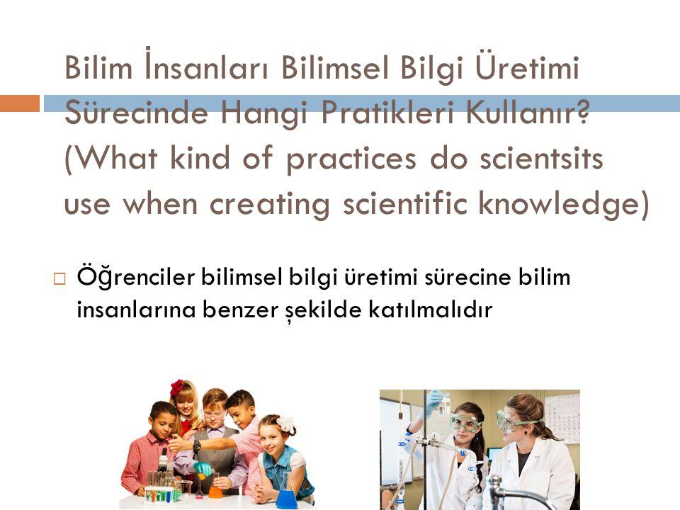 Bilimsel Pratikler (Scientific Practices)  Bilimsel bilgi  B İ L İ MSEL PRAT İ KLER  B İ LG İ ++++BECER İ