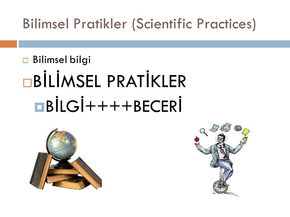 B İ L İ MSEL PRAT İ KLER (NRC, 2012; NGSS,2013)  Soru sorma  Modeller geliştirme ve kullanma  Araştırmalar planlanma ve yürütme  Veri analizi yapma ve yorumlama  Matematik ve matematiksel düşünceyi kullanma  Açıklamaları yapılandırmave çözümler tasarlama  Kanıta dayalı bilimsel argümantasyon sürecine katılma  Bilgiyi elde etme,de ğ erlendirme ve paylaşmadır.