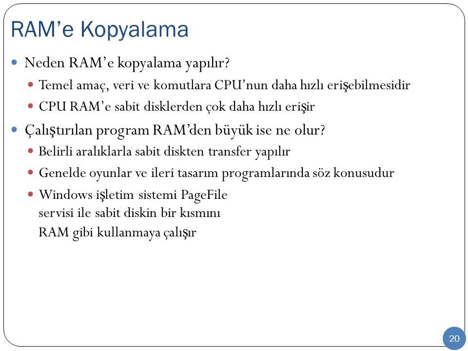 20 Neden RAM'e kopyalama yapılır.