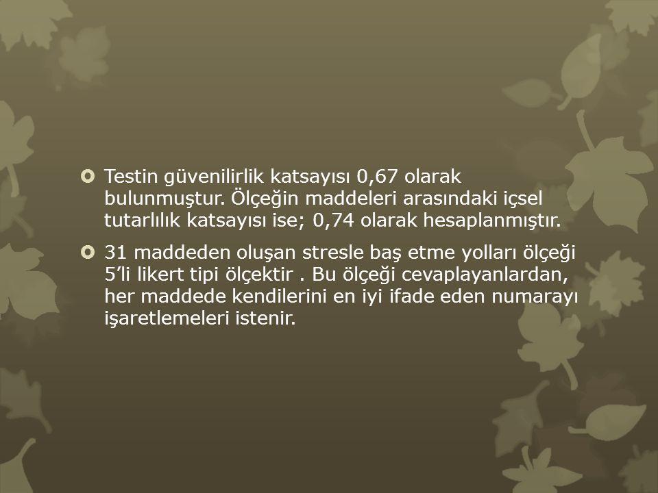  Testin güvenilirlik katsayısı 0,67 olarak bulunmuştur. Ölçeğin maddeleri arasındaki içsel tutarlılık katsayısı ise; 0,74 olarak hesaplanmıştır.  31