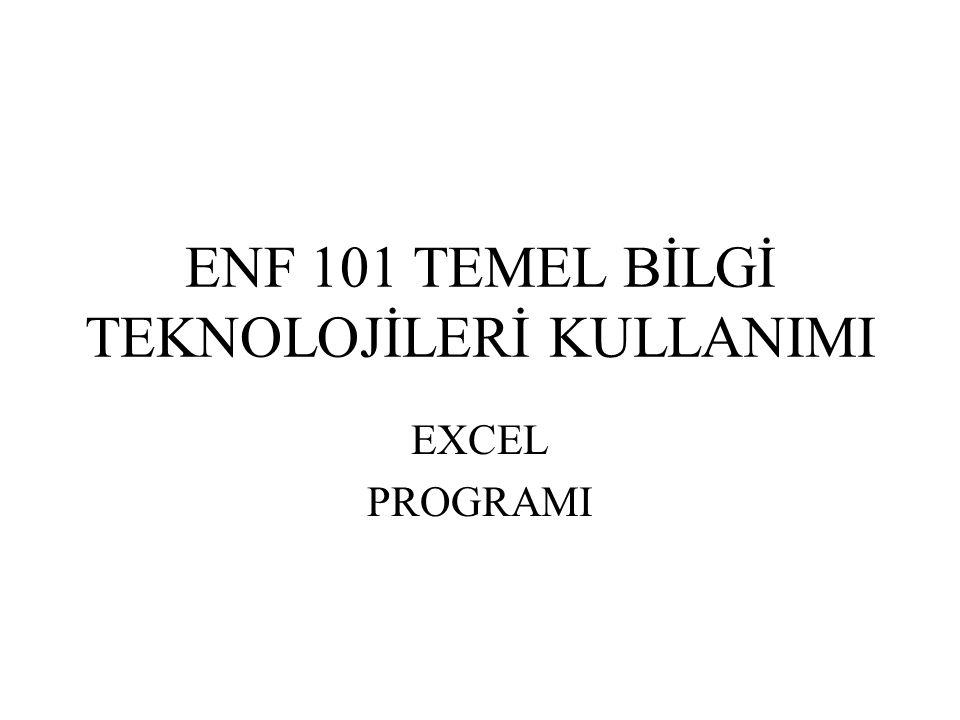 ENF 101 TEMEL BİLGİ TEKNOLOJİLERİ KULLANIMI EXCEL PROGRAMI