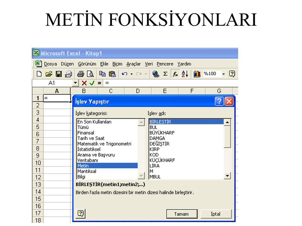 METİN FONKSİYONLARI