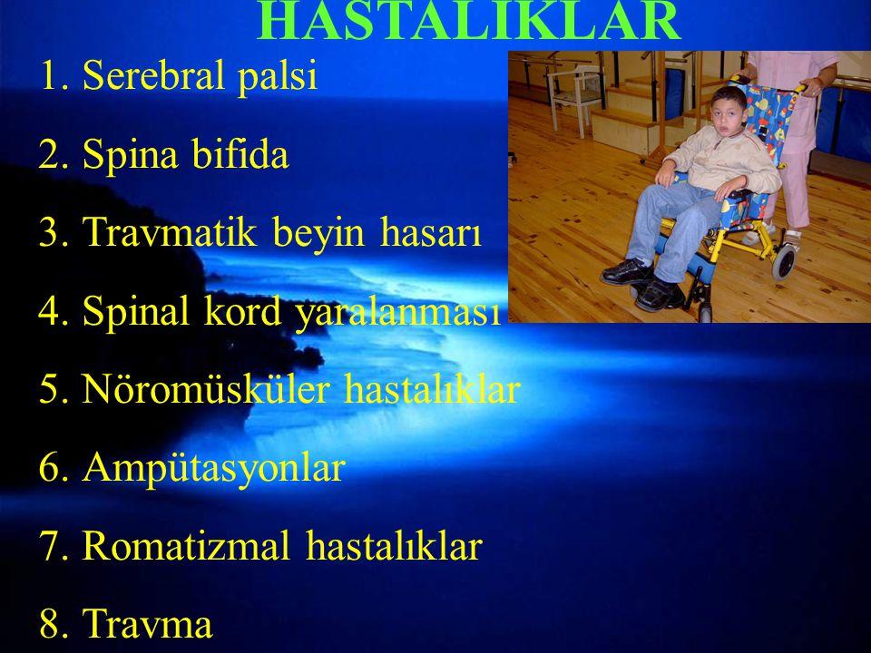 Torakal instabilite kriterleri-2 HASTALIKLAR 1.Serebral palsi 2.Spina bifida 3.Travmatik beyin hasarı 4.Spinal kord yaralanması 5.Nöromüsküler hastalıklar 6.Ampütasyonlar 7.Romatizmal hastalıklar 8.Travma