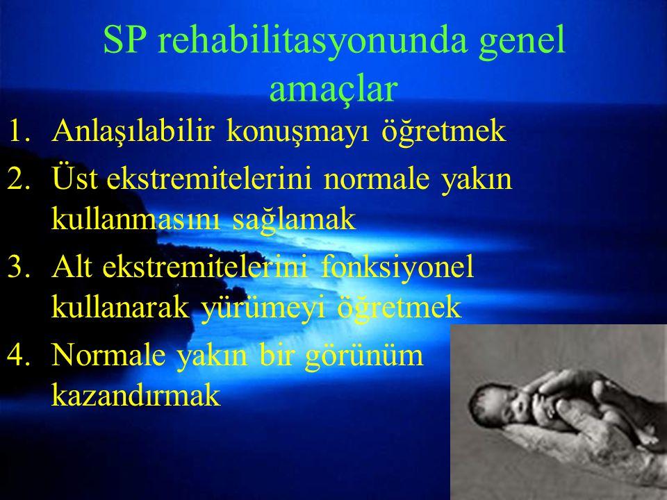 SP rehabilitasyonunda genel amaçlar 1.Anlaşılabilir konuşmayı öğretmek 2.Üst ekstremitelerini normale yakın kullanmasını sağlamak 3.Alt ekstremitelerini fonksiyonel kullanarak yürümeyi öğretmek 4.Normale yakın bir görünüm kazandırmak