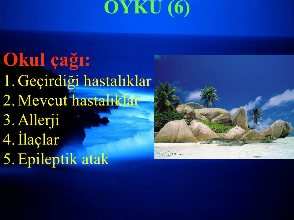 FİZİK MUAYENE-5 Nörolojik muayene Refleksler(Moro, palmar, plantar Tonüs (hipertoni, hipotoni) Aktif hareket Kas kuvveti (0-5) Koordinasyon Duyu