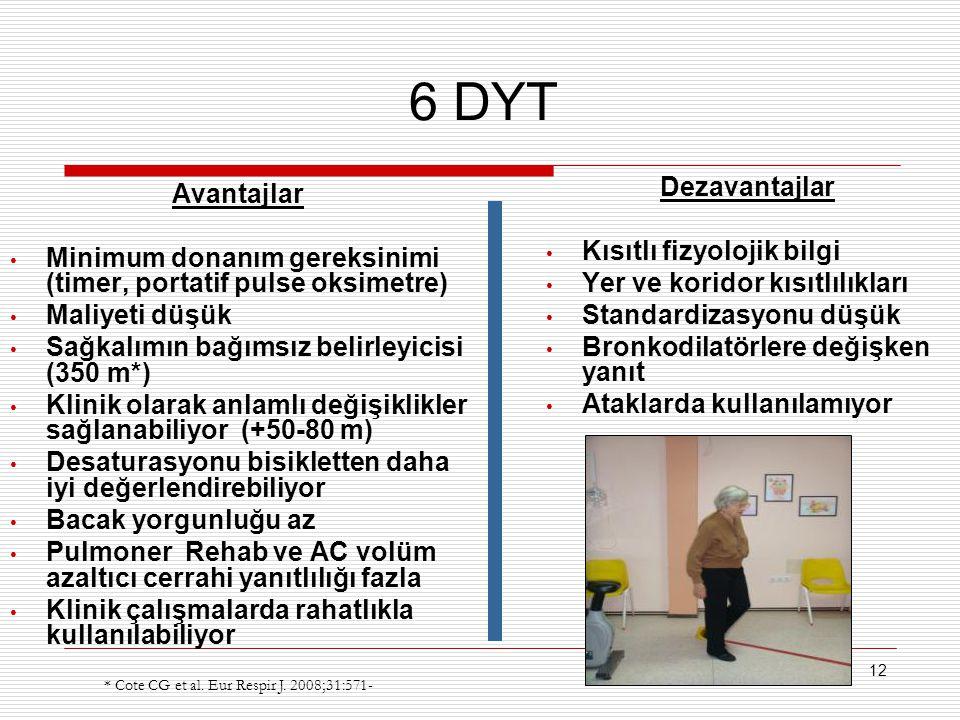 12 6 DYT Avantajlar Minimum donanım gereksinimi (timer, portatif pulse oksimetre) Maliyeti düşük Sağkalımın bağımsız belirleyicisi (350 m*) Klinik ola