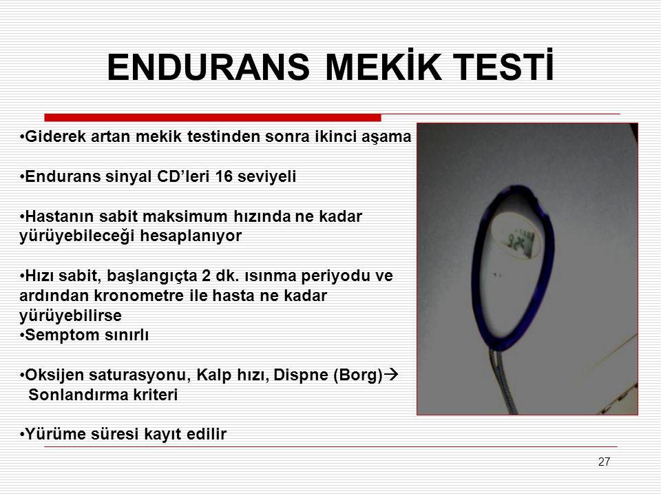 27 ENDURANS MEKİK TESTİ Giderek artan mekik testinden sonra ikinci aşama Endurans sinyal CD'leri 16 seviyeli Hastanın sabit maksimum hızında ne kadar