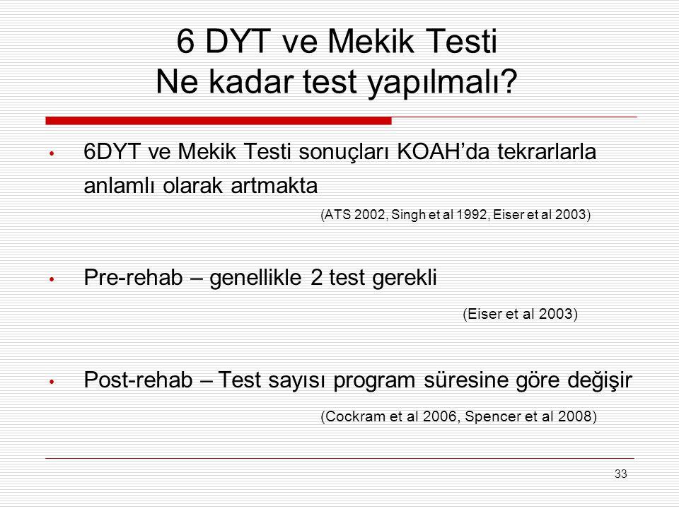 33 6 DYT ve Mekik Testi Ne kadar test yapılmalı? 6DYT ve Mekik Testi sonuçları KOAH'da tekrarlarla anlamlı olarak artmakta (ATS 2002, Singh et al 1992