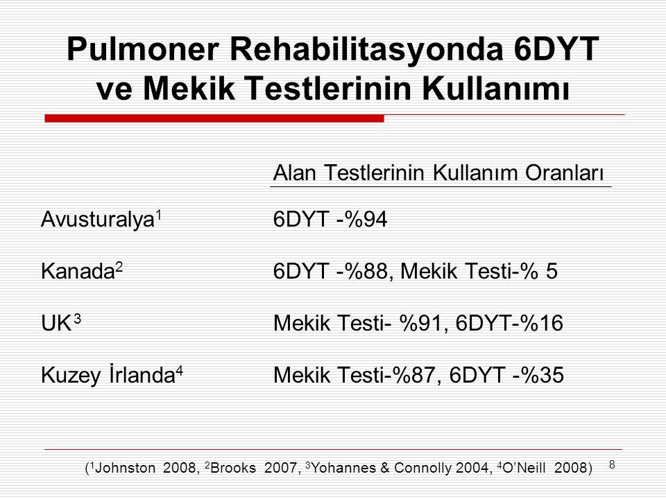 8 Pulmoner Rehabilitasyonda 6DYT ve Mekik Testlerinin Kullanımı Alan Testlerinin Kullanım Oranları Avusturalya 1 6DYT -%94 Kanada 2 6DYT -%88, Mekik T