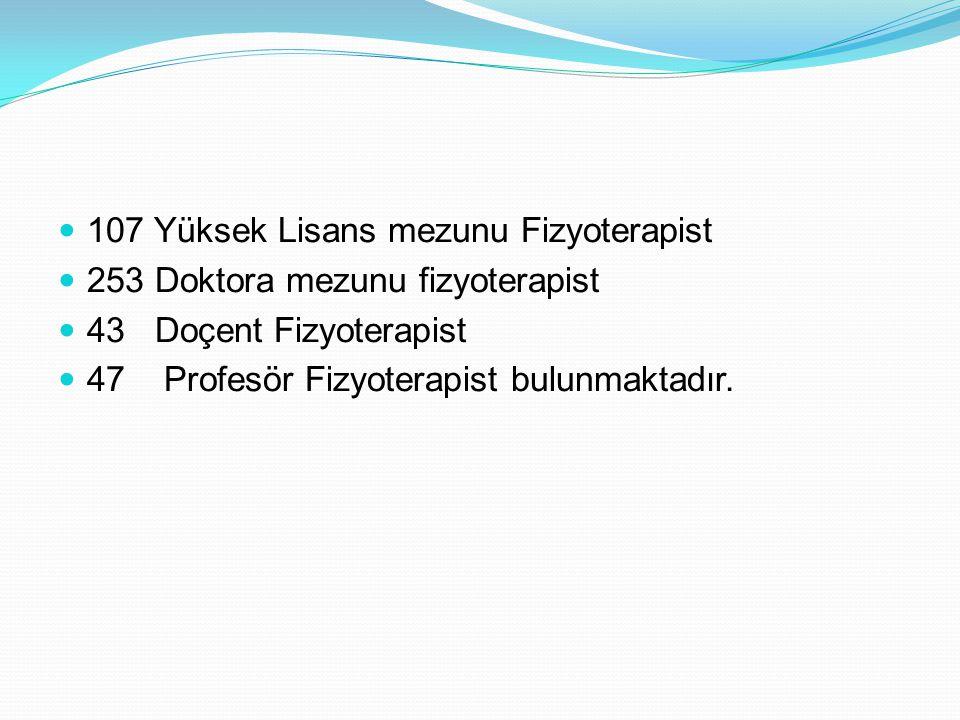107 Yüksek Lisans mezunu Fizyoterapist 253 Doktora mezunu fizyoterapist 43 Doçent Fizyoterapist 47 Profesör Fizyoterapist bulunmaktadır.