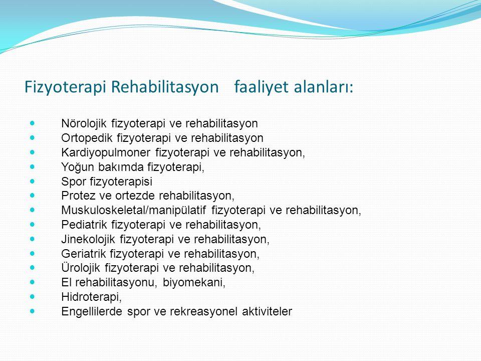 Fizyoterapi Rehabilitasyon faaliyet alanları: Nörolojik fizyoterapi ve rehabilitasyon Ortopedik fizyoterapi ve rehabilitasyon Kardiyopulmoner fizyoter