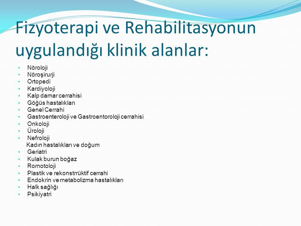 Fizyoterapi ve Rehabilitasyonun uygulandığı klinik alanlar: Nöroloji Nöroşirurji Ortopedi Kardiyoloji Kalp damar cerrahisi Göğüs hastalıkları Genel Ce