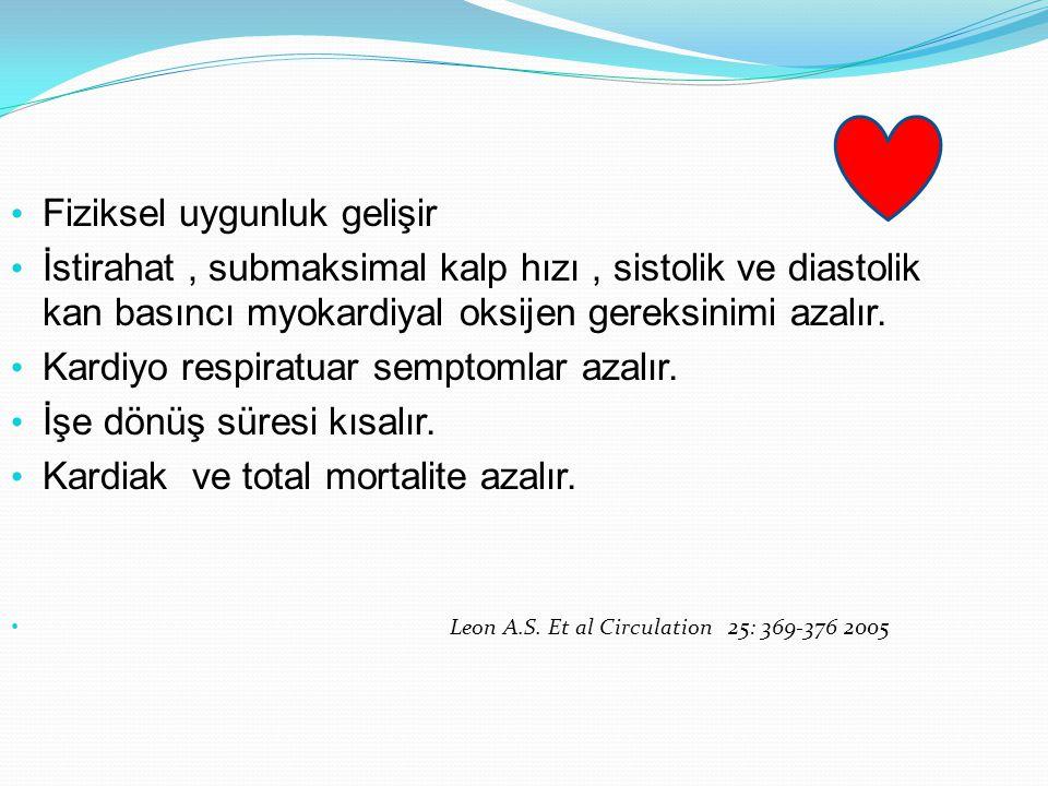 Fiziksel uygunluk gelişir İstirahat, submaksimal kalp hızı, sistolik ve diastolik kan basıncı myokardiyal oksijen gereksinimi azalır. Kardiyo respirat