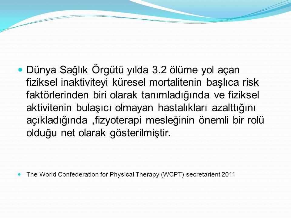 Fizyoterapi ve Rehabilitasyona yeni yüzyılda yüklenen roller: 19-20 Eylül 2011'New York'ta yapılan Birleşmiş Milletler Bulaşıcı Olmayan Hastalıklar (Obezite çocukluk obezitesi,Kardiyovaküler hastalıklar Diabetus Mellitus, Kanser) Zirvesinden çıkan sonuç uyarınca küresel hareketlerde fizyoterapistler planlamanın ve uygulamanın merkezinde olmalıdır.