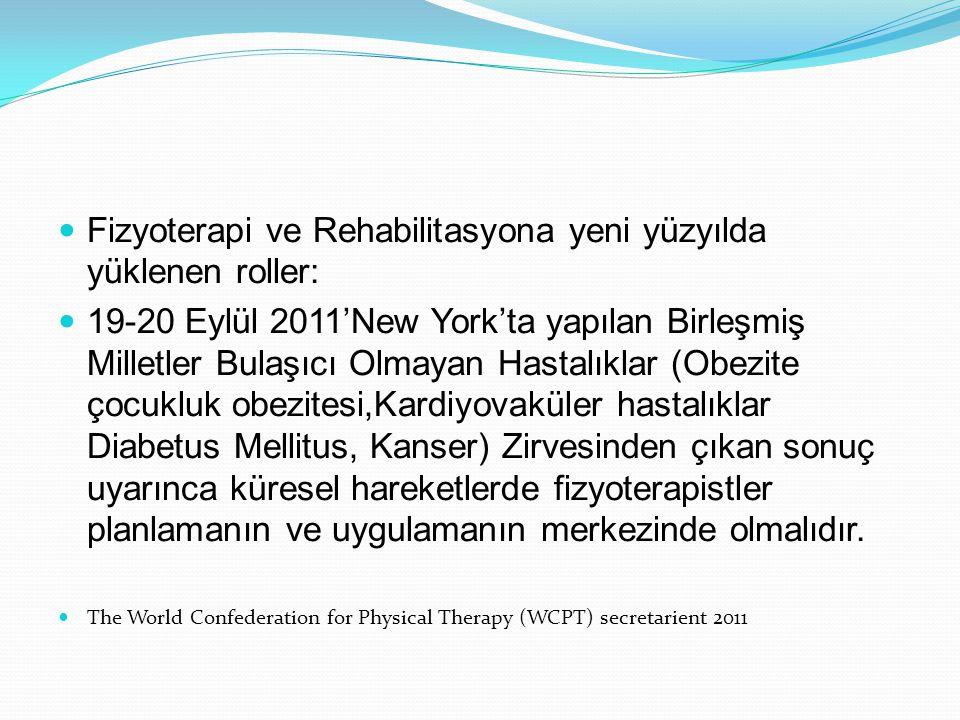 Fizyoterapi Rehabilitasyon faaliyet alanları: Nörolojik fizyoterapi ve rehabilitasyon Ortopedik fizyoterapi ve rehabilitasyon Kardiyopulmoner fizyoterapi ve rehabilitasyon, Yoğun bakımda fizyoterapi, Spor fizyoterapisi Protez ve ortezde rehabilitasyon, Muskuloskeletal/manipülatif fizyoterapi ve rehabilitasyon, Pediatrik fizyoterapi ve rehabilitasyon, Jinekolojik fizyoterapi ve rehabilitasyon, Geriatrik fizyoterapi ve rehabilitasyon, Ürolojik fizyoterapi ve rehabilitasyon, El rehabilitasyonu, biyomekani, Hidroterapi, Engellilerde spor ve rekreasyonel aktiviteler