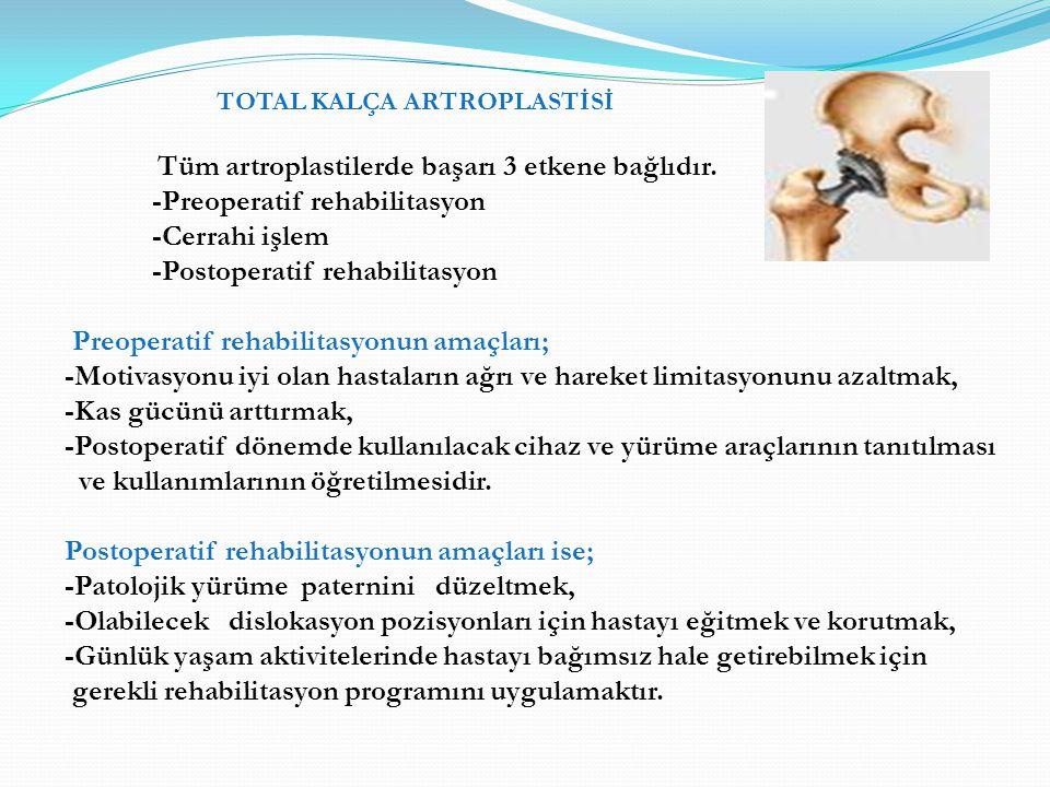 TOTAL KALÇA ARTROPLASTİSİ Tüm artroplastilerde başarı 3 etkene bağlıdır. -Preoperatif rehabilitasyon -Cerrahi işlem -Postoperatif rehabilitasyon Preop