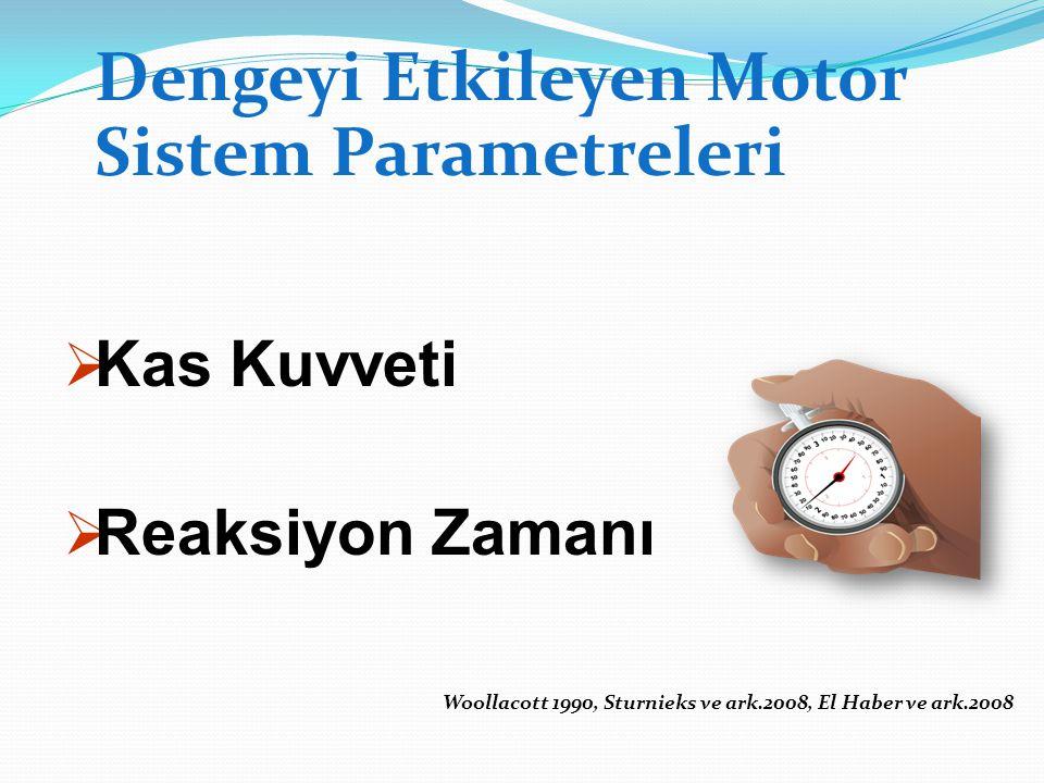 Dengeyi Etkileyen Motor Sistem Parametreleri  Kas Kuvveti  Reaksiyon Zamanı Woollacott 1990, Sturnieks ve ark.2008, El Haber ve ark.2008