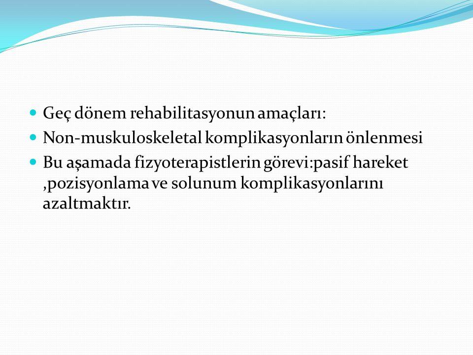 Geç dönem rehabilitasyonun amaçları: Non-muskuloskeletal komplikasyonların önlenmesi Bu aşamada fizyoterapistlerin görevi:pasif hareket,pozisyonlama v