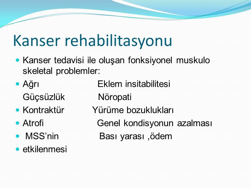 Kanser rehabilitasyonu Kanser tedavisi ile oluşan fonksiyonel muskulo skeletal problemler: Ağrı Eklem insitabilitesi Güçsüzlük Nöropati Kontraktür Yür