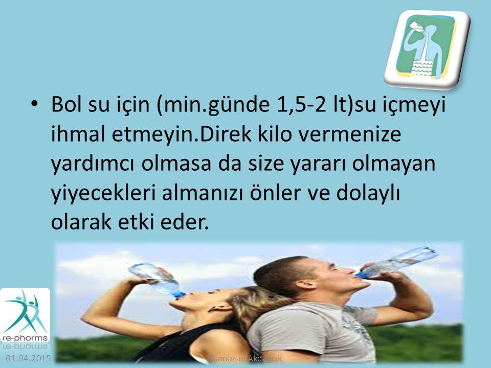 Bol su için (min.günde 1,5-2 lt)su içmeyi ihmal etmeyin.Direk kilo vermenize yardımcı olmasa da size yararı olmayan yiyecekleri almanızı önler ve dolaylı olarak etki eder.