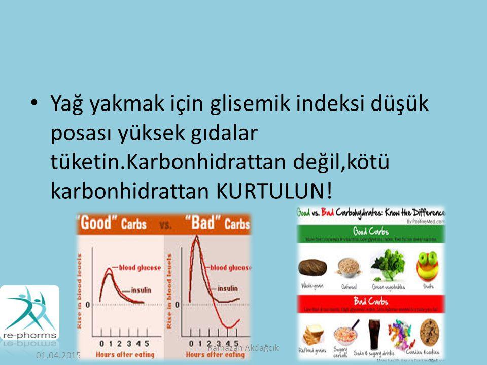 Yağ yakmak için glisemik indeksi düşük posası yüksek gıdalar tüketin.Karbonhidrattan değil,kötü karbonhidrattan KURTULUN.
