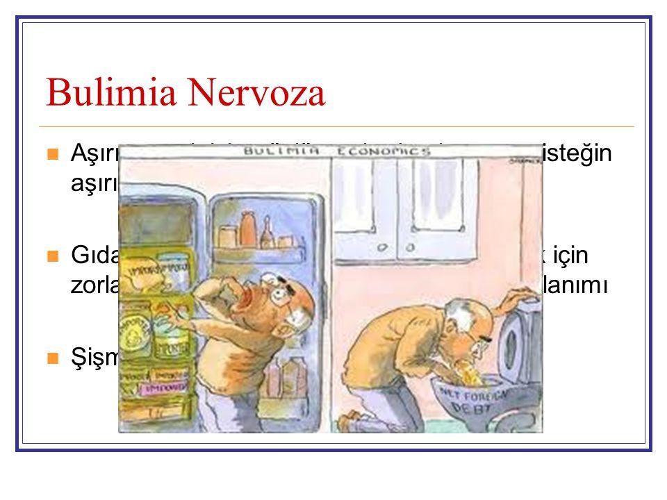 Bulimia Nervoza Aşırı yemek için güçlü ve durdurulamayan isteğin aşırı yeme epizodlarına neden olması Gıdaların şişmanlatıcı etkisinden kaçınmak için