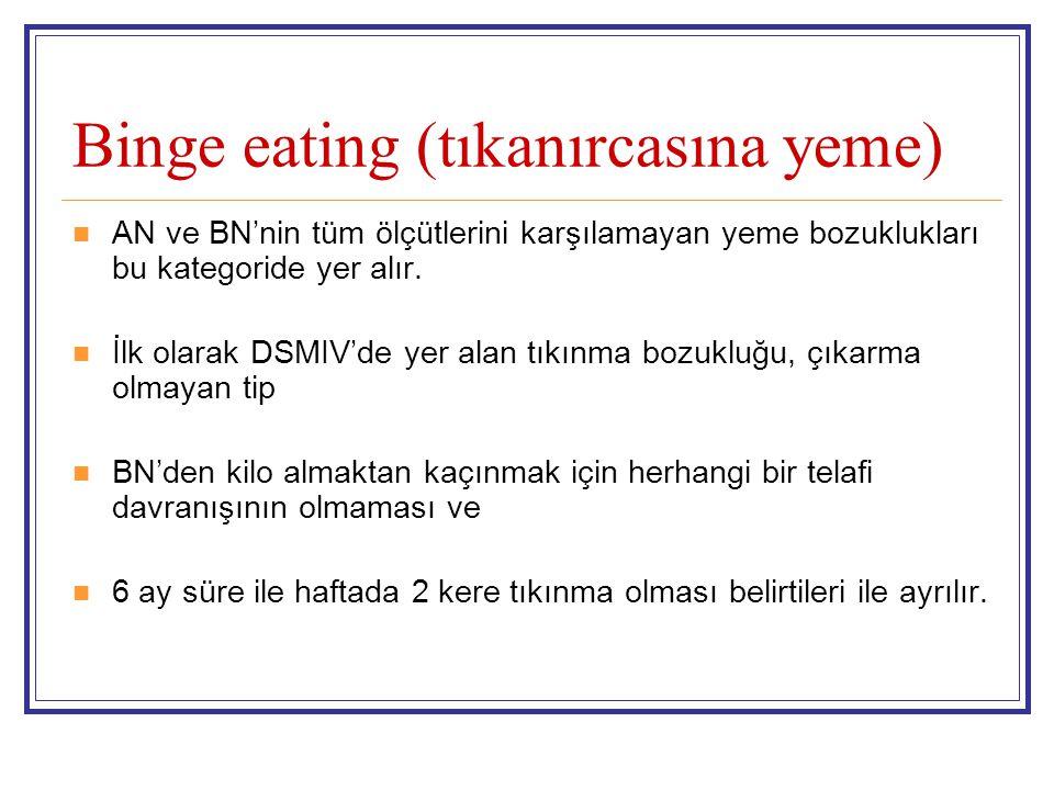 Binge eating (tıkanırcasına yeme) AN ve BN'nin tüm ölçütlerini karşılamayan yeme bozuklukları bu kategoride yer alır. İlk olarak DSMIV'de yer alan tık