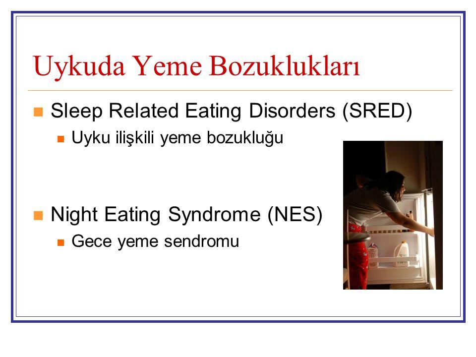 Uykuda Yeme Bozuklukları Sleep Related Eating Disorders (SRED) Uyku ilişkili yeme bozukluğu Night Eating Syndrome (NES) Gece yeme sendromu
