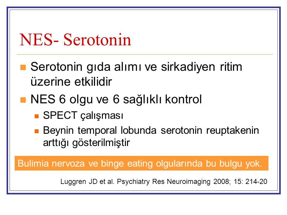 NES- Serotonin Serotonin gıda alımı ve sirkadiyen ritim üzerine etkilidir NES 6 olgu ve 6 sağlıklı kontrol SPECT çalışması Beynin temporal lobunda ser