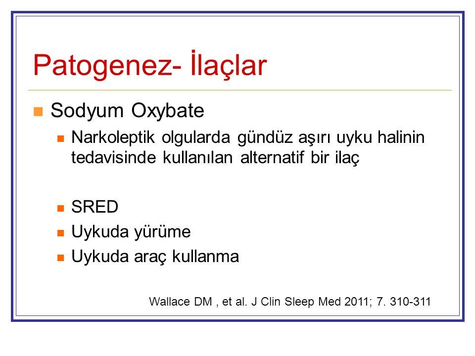 Patogenez- İlaçlar Sodyum Oxybate Narkoleptik olgularda gündüz aşırı uyku halinin tedavisinde kullanılan alternatif bir ilaç SRED Uykuda yürüme Uykuda