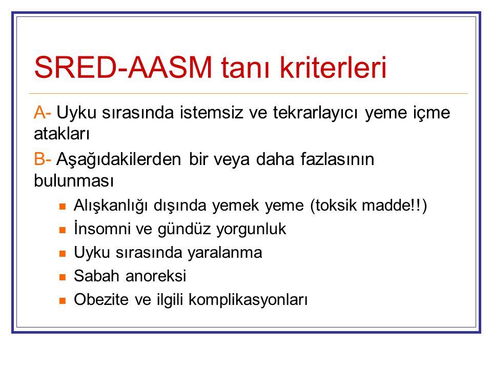 SRED-AASM tanı kriterleri A- Uyku sırasında istemsiz ve tekrarlayıcı yeme içme atakları B- Aşağıdakilerden bir veya daha fazlasının bulunması Alışkanl
