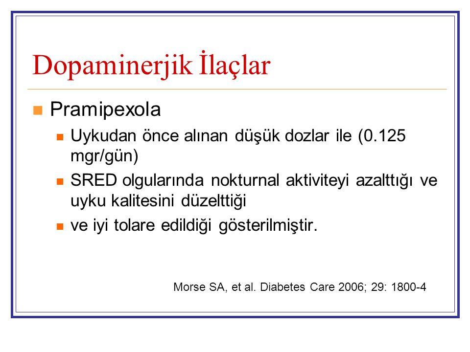 Dopaminerjik İlaçlar Pramipexola Uykudan önce alınan düşük dozlar ile (0.125 mgr/gün) SRED olgularında nokturnal aktiviteyi azalttığı ve uyku kalitesi