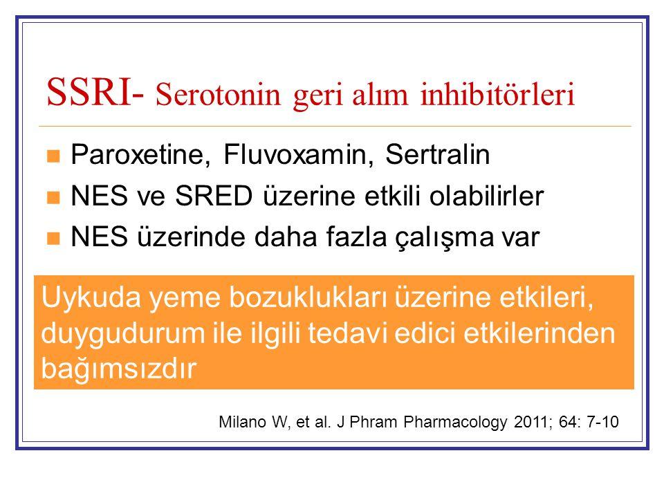 SSRI- Serotonin geri alım inhibitörleri Paroxetine, Fluvoxamin, Sertralin NES ve SRED üzerine etkili olabilirler NES üzerinde daha fazla çalışma var U