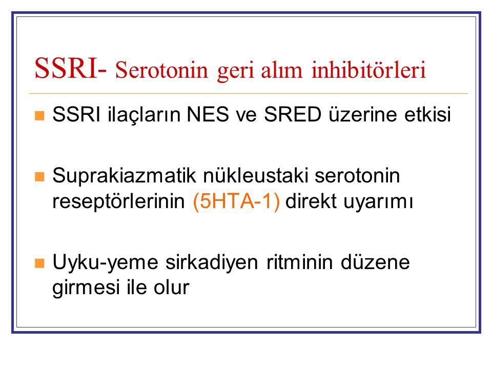 SSRI- Serotonin geri alım inhibitörleri SSRI ilaçların NES ve SRED üzerine etkisi Suprakiazmatik nükleustaki serotonin reseptörlerinin (5HTA-1) direkt