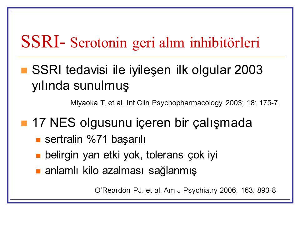 SSRI- Serotonin geri alım inhibitörleri SSRI tedavisi ile iyileşen ilk olgular 2003 yılında sunulmuş 17 NES olgusunu içeren bir çalışmada sertralin %7