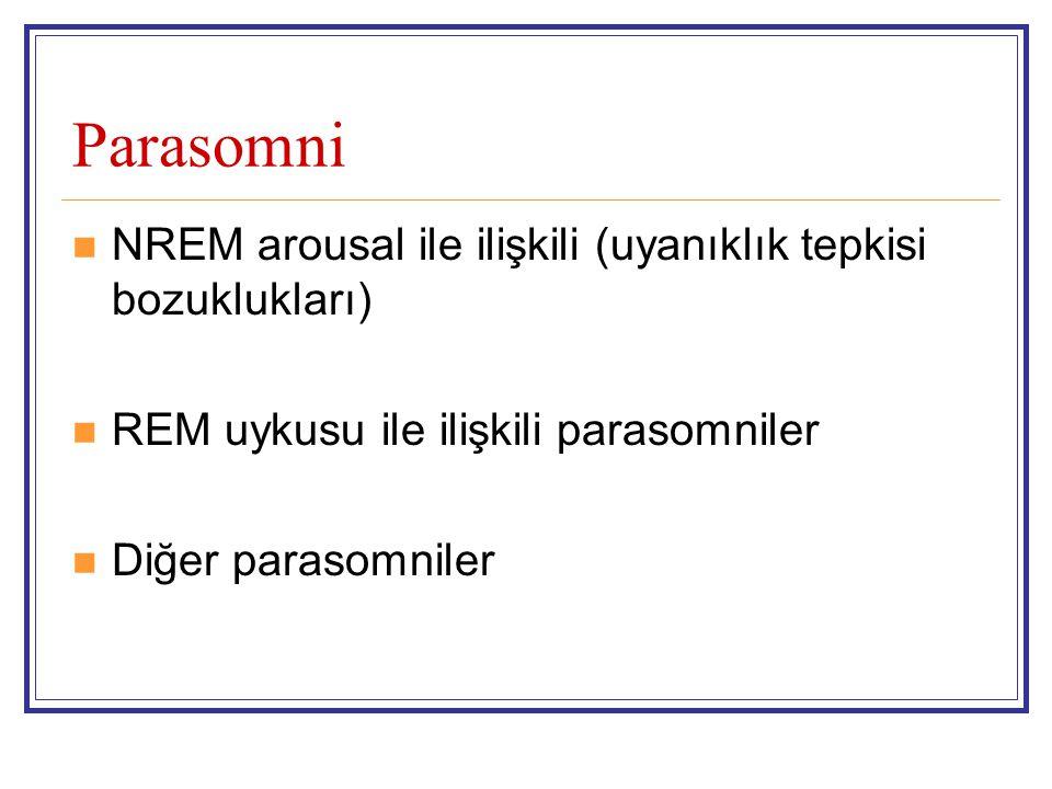 Parasomni NREM arousal ile ilişkili (uyanıklık tepkisi bozuklukları) REM uykusu ile ilişkili parasomniler Diğer parasomniler