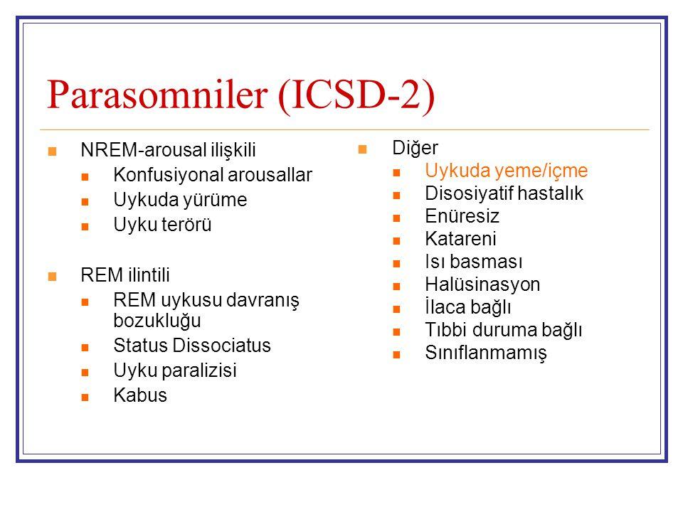 Parasomniler (ICSD-2) NREM-arousal ilişkili Konfusiyonal arousallar Uykuda yürüme Uyku terörü REM ilintili REM uykusu davranış bozukluğu Status Dissoc