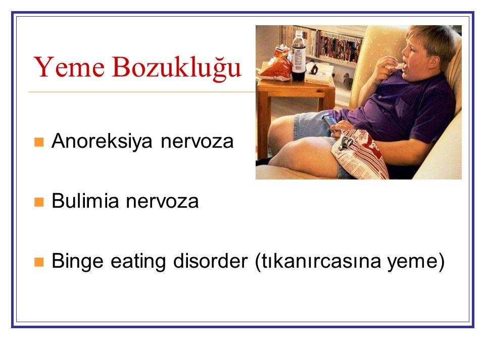 Yeme Bozukluğu Anoreksiya nervoza Bulimia nervoza Binge eating disorder (tıkanırcasına yeme)