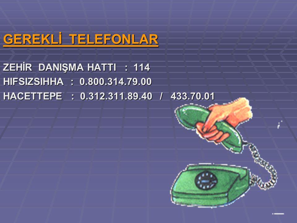 GEREKLİ TELEFONLAR ZEHİR DANIŞMA HATTI : 114 HIFSIZSIHHA : 0.800.314.79.00 HACETTEPE : 0.312.311.89.40 / 433.70.01
